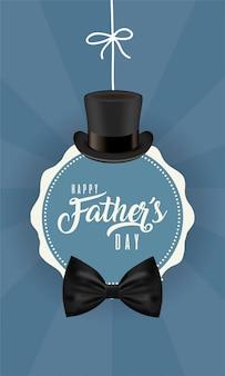 Sigillo timbro con cappello e papillon del giorno del papà