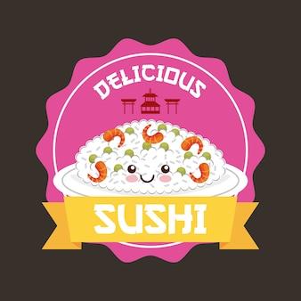 Timbro con l'icona di sushi kawaii