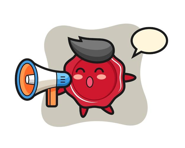 Illustrazione del carattere della cera di tenuta che tiene un megafono