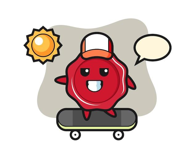 L'illustrazione del carattere della cera di tenuta guida uno skateboard