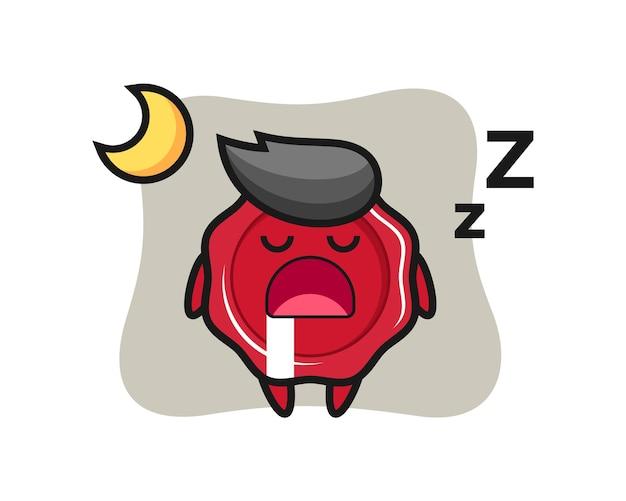 Illustrazione del carattere della cera di tenuta che dorme la notte