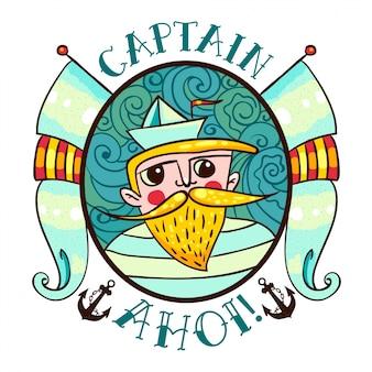 Illustrazione seaman con un faro nello stile di un vecchio tatuaggio.