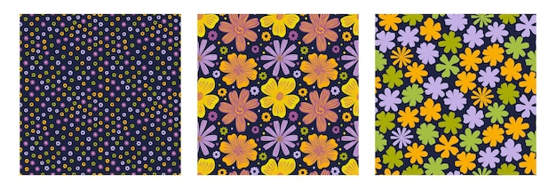Seamles pattern flowerstampa disegnata a mano di design floreale vintage tessile