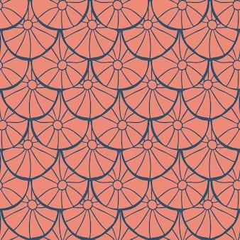 Motivo geometrico astratto senza soluzione di continuità su sfondo bianco disegno a mano in stile arte popolare