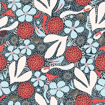 Modello astratto senza cuciture motivo floreale scandinavo sfondo blu corallo e blu disegnati a mano