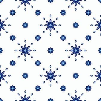 Modello piastrellato astratto senza cuciture blu e bianco. sfondo invernale con fiocchi di neve e stelle.