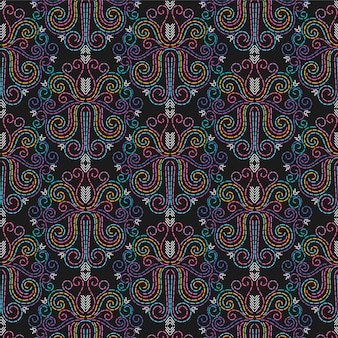 Seamless pattern vettoriale astratto needlepoint / sfondo. aghi, cuciture, punti filati, ricami.