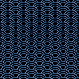 Senza soluzione di continuità onda astratta pattern-stile giapponese