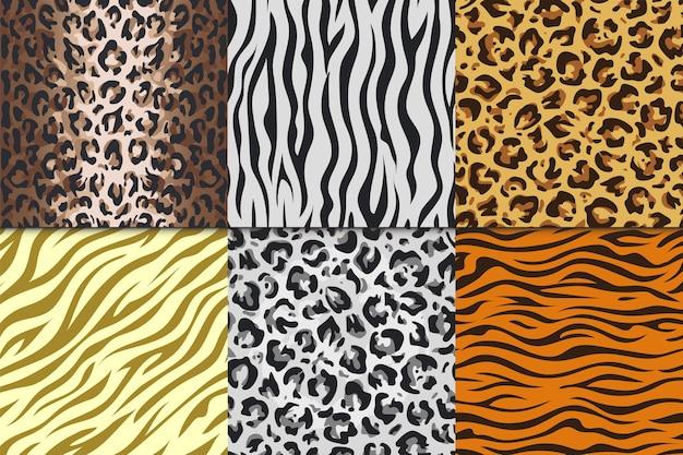 Stampe animalier senza cuciture. set di modelli senza cuciture diversi di pelli di animali