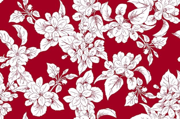 Sfondo fiorito di mele senza soluzione di continuità per tessuti per abiti primaverili