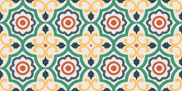 Modello colorato di piastrelle geometriche arabe senza soluzione di continuità su sfondo chiaro.