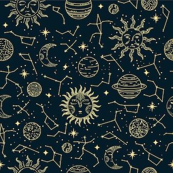 Seamless pattern astrologico con illustrazione di pianeti