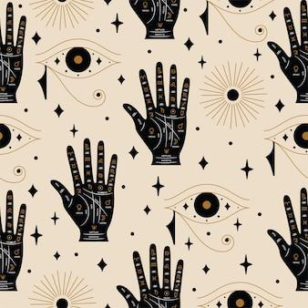 Modello di chiromanzia astrologia senza cuciture in vettoriale con palma e occhio di horus