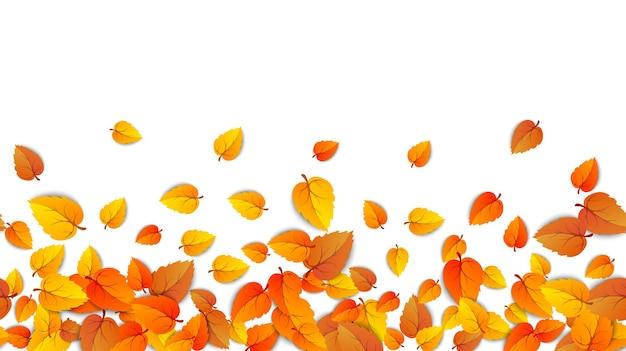 Foglie di autunno senza soluzione di continuità banner orizzontale isolato su sfondo bianco modello foglia d'oro