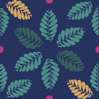 Sfondo senza saldatura autunnale con foglie e puntino