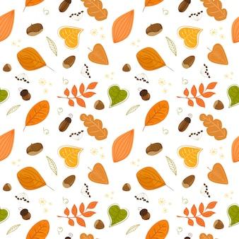 Modello autunno senza soluzione di continuità con noci e foglie. modello.