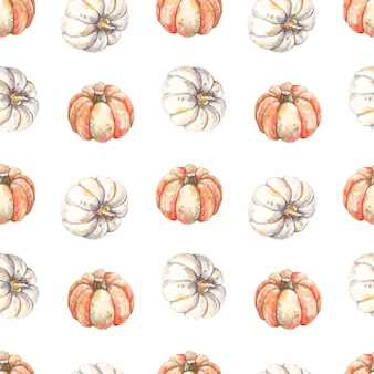 Seamless pattern autunnale con zucche dell'acquerello