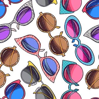 Sfondo senza soluzione di continuità di occhiali da sole vintage diversi carini. illustrazione disegnata a mano