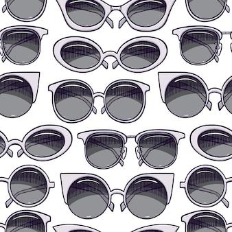 Fondo senza cuciture degli occhiali da sole vintage grigi carini. illustrazione disegnata a mano
