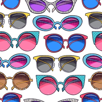 Sfondo senza soluzione di continuità di occhiali da sole vintage carini. illustrazione disegnata a mano
