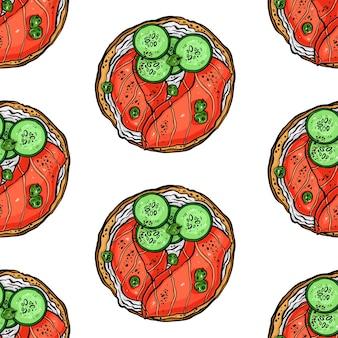Sfondo senza soluzione di continuità di deliziosi toast per la colazione con pesce e altri ingredienti. illustrazione disegnata a mano