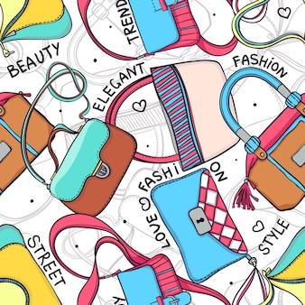 Sfondo senza soluzione di continuità di borse femminili alla moda