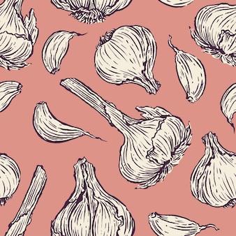 Fondo senza cuciture di aglio su uno sfondo rosa. illustrazione disegnata a mano