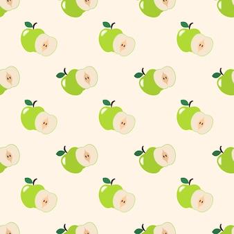 Immagine di sfondo senza soluzione di continuità colorata frutta tropicale mela verde Vettore Premium