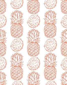 Sfondo senza soluzione di continuità di ananas arancioni maturi. illustrazione disegnata a mano