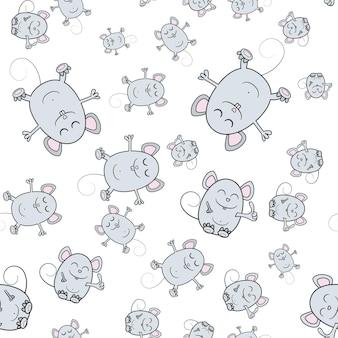 Sfondo senza soluzione di continuità con il simbolo del mouse 2020. simpatico cartone animato del topo. illustrazione vettoriale