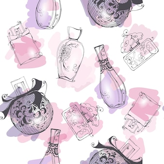 Sfondo senza soluzione di continuità con una bella bottiglia di profumo sfondo bello e alla moda