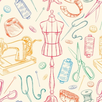 Sfondo senza soluzione di continuità con attrezzature sartoriali schizzo colorato. manichino, cucito, macchina da cucire. illustrazione disegnata a mano