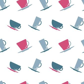 Sfondo senza soluzione di continuità con tazze in colori pastello per il design della carta da imballaggio illustrazione vettoriale