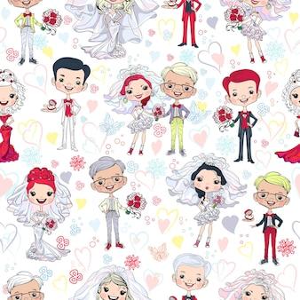 Sfondo senza soluzione di continuità con la sposa e lo sposo carini
