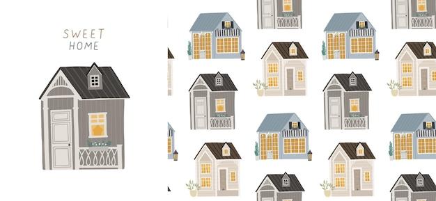 Sfondo senza soluzione di continuità con case carine. illustrazione per bambini.