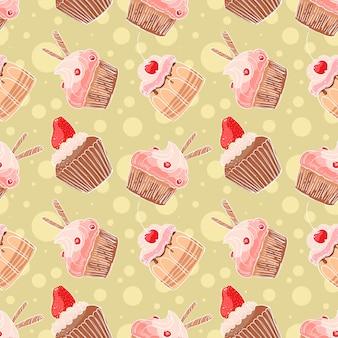 Sfondo trasparente con simpatici muffin su uno sfondo giallo