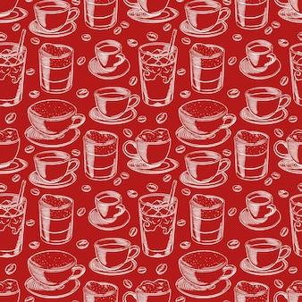 Sfondo senza soluzione di continuità con diverse tazze di caffè e chicchi di caffè. illustrazione disegnata a mano