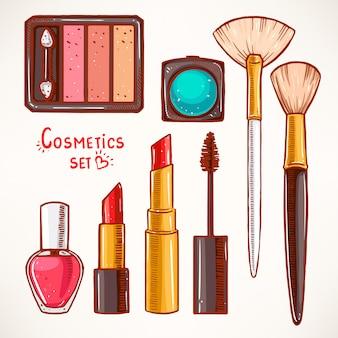 Sfondo trasparente con diversi cosmetici decorativi. rossetto, smalto per unghie, ombretto