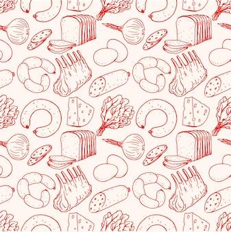 Sfondo senza soluzione di continuità con diversi cibi di schizzo. carne, formaggio, pane