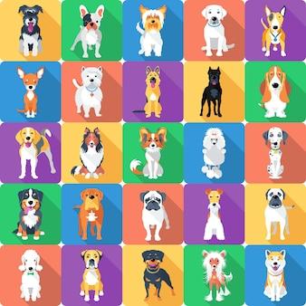 Sfondo senza soluzione di continuità con design piatto icona cani Vettore Premium