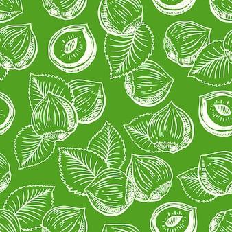 Fondo senza cuciture con nocciole e foglie. illustrazione disegnata a mano