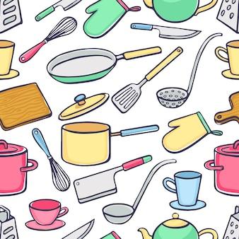 Fondo senza cuciture con utensili da cucina. pentole, coltelli, mestolo. illustrazione disegnata a mano