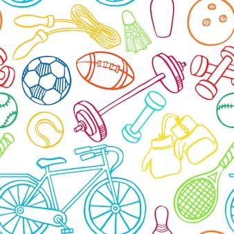 Fondo senza cuciture con attrezzature sportive multicolori. illustrazione disegnata a mano