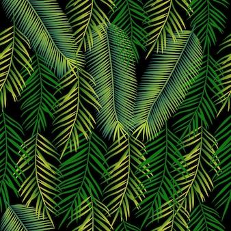 Fondo senza cuciture con foglie di palma. modello giungla