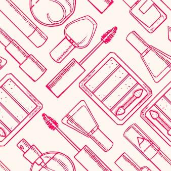 Fondo senza cuciture con diversi cosmetici decorativi di schizzo. rossetto, smalto per unghie, ombretto