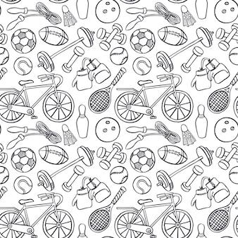 Fondo senza cuciture con attrezzature sportive. illustrazione disegnata a mano