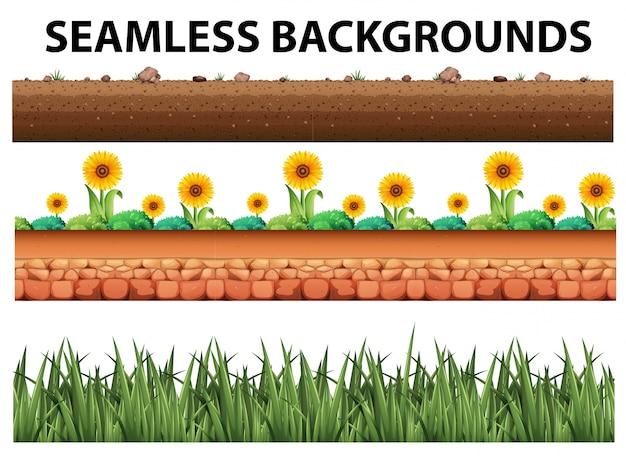 Sfondo senza soluzione di continuità con girasoli ed erba