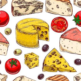 Sfondo senza soluzione di continuità con vari formaggi di schizzo