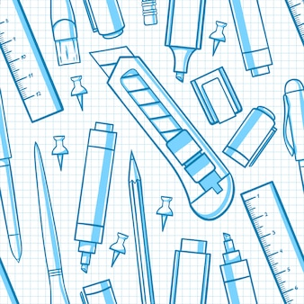 Sfondo trasparente con vari articoli di cancelleria. coltello da cancelleria, forbici, pennarello