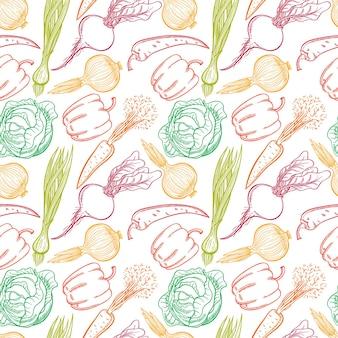 Fondo senza cuciture con le verdure: peperoni, carote, cipolle, barbabietole, cavoli